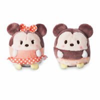 "Disney Store Authentic Mickey & Minnie Ufufy Mini Plush 2pc Set New 2 1/2"" L"