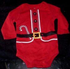 CHRISTMAS SANTA CLAUS SIZE 6 -9 MONTH BABY RED PAJAMA SLEEPER CREEPER BODYSUIT