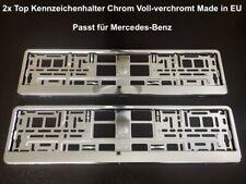 2x Top Kennzeichenhalter Chrom Voll-verchromt Hochglanz Made in EU 52x11cm (37
