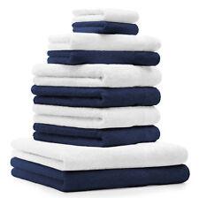 Betz 10-tlg. Handtuch-Set CLASSIC 100% Baumwolle dunkelblau & weiß
