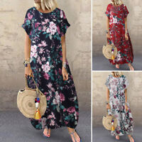 ZANZEA Women Summer Short Sleeve Dress Casual Loose Floral Printed Midi Sundress