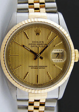 ROLEX Mens 36mm 18kt Gold & SS DateJust Champagne Tapestry Dial 16233 SANT BLANC