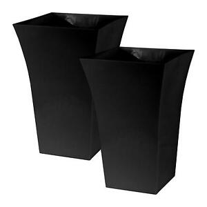 2 x Black Large Plant Pots Square Tall Plastic Planters Indoor Outdoor Garden
