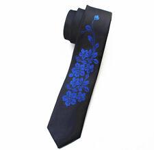 Flor Negro y azul con dibujos hechos a mano 100% Seda Skinny Boda Corbata
