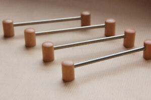 5 x Wooden Handles Classic 128mm fixing centres Beech INOX Metal High Quality