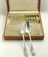Boulenger, 12 couverts de table, 24 pièces modèle Coquille, métal argenté, écrin