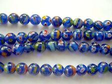 Millefiori glass round beads 8mm Dark Blue