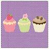 Set de 4 dessous de verres carrés 3 cupcakes by Cbkreation
