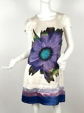 Rinascimento Women's Cap Sleeve White Short Dress Purple Floral Print Size S