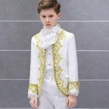 Boys Kids Embroidery Suit Jacket Blazer Pants Retro Costume Fancy Dress 2 Pcs