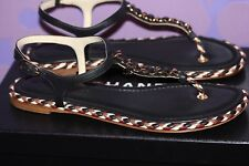 CHANEL 2017 Lambskin Gold Chain Multi Braided Thong Sandal 39 CC Logo Charm +Box