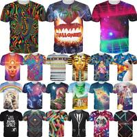 Fashion Women Men's 3D Print Short Sleeve Tops Casual T-Shirt Graphic Tee Shirts