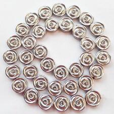 12x4mm Carved Silver Hematite Gemstone Flower loose bead 15.5 inch R0060761
