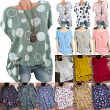 Ladies Womens Plus Size Summer Baggy Loose T-Shirt Blouse Hippie Boho Tunic Tops
