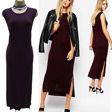 Whistles Aubergine Midi Sleeveless Rib Knit Bordeaux Jumper Dress Large-14-16 UK