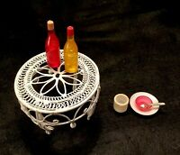 1980's Doll House Furniture-WHITE WROUGHT IRON / WICKER Table w/ 2 Bottles-Plate