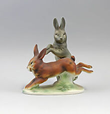 Porcelain figurine Hare group colourful Bisquir Wagner&Apel H19cm 9942774