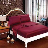 1200 1000 TC US Size Polyester Silk 4pc Sheet Set/3pc Duvet Set in Burgundy