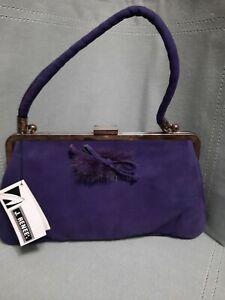 NWT-VTG J. RENEE deep purple suede handbag.