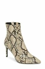 NEW Jeffrey Campbell Women Pointy Toe Bootie Khalees Size 9 White Snake Embossed