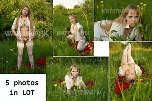 Set 5 in 1 Photo Sexy Blonde Big Breasts on Grass Risque Original Paper 13*18 cm