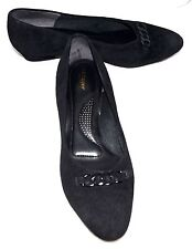 Hush Puppies Black Suede Leather Comfort Womens Shoes with Chain On Toes Sz 10 W