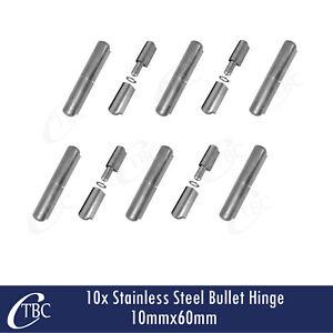 10 x Stainless Steel Hinge Bullet Weld 10mm x 60mm Trailer Toolbox Gate Door Pin