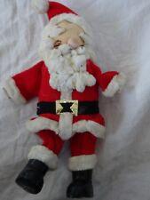 "Vtg SANTA Nylon Face CHENILLE Beard PAPER MACHE Boots Christmas ORNAMENT 7"""