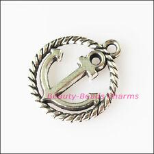 8Pcs Antiqued Silver Tone Round Circle Anchor Charms Pendants 15.5x18mm