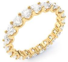 "3.02 ct Round Diamond Ring 14k Yellow Gold Eternity ""U"" Band Size 7 0.15 ct each"