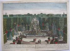 Gartenarchitektur Lustwasser Guckkastenblatt Probst kolor Kupferstich 1740