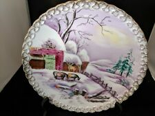"VINTAGE WALL PLATE HAND PAINTED ARTIST SIGNED M. SHIMARA 8"" DECOR WINTER FARM"