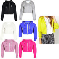 Womens Pullover Fleece Plain Cropped Top Crop Hoody Hoodie Jumper UK Size 8-14