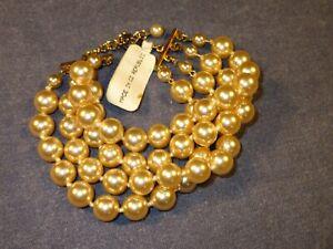 New BANANA REPUBLIC Bracelet 4 Strand FAUX PEARLS Champagne Color 7 1/2-8 1/2 in
