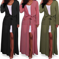Womens Kimono Jacket Long Sleeve Maxi Cardigan Chiffon Garment Coat Top Pop