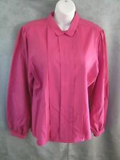 Vintage Koret Pink Career Blouse Size 14 Pleated Front Union Made in Usa