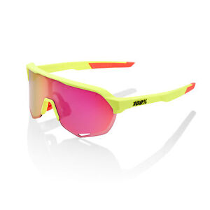 100% Sunglasses S2 Matte Washed Out Neon Yellow  Purple Multilayer Mirror Lens