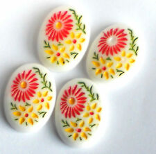 Vintage Cabochons Pressed Glass Intaglios Floral Cabs13x18mm Chalk White #1053