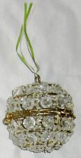"Clear Beads on a 4"" Goldtone Metal Ball Decoration Round Ornament w Hinge"