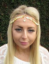 Yellow Gold Sea Shell Headpiece Mermaid Boho Head Chain Hair Headband Boho 1679