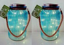 2 x Solar Garden Lantern Light Glass Jar Hanging & Rope Handle 20 LED Lamp Blue