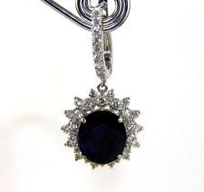Oval Blue Sapphire & Diamond Drop Earrings 14K White Gold 16.95Ct