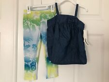 DKNY NWT Girls 2PC Set Tee Top Shirt Tunic Tank Sun Denim Leggings Pants 4 4T