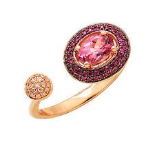 14K ROSE GOLD PAVE DIAMOND PINK SAPPHIRE & TOPAZ COCKTAIL HALO RING