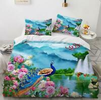 3D Peony Peacock Scenery KEP5320 Bed Pillowcases Quilt Duvet Cover Kay