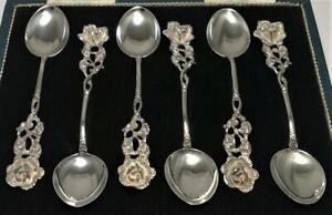 """6 Vintage German Solid Silver Hildesheimer Rose Spoons (4"""") – c1970"""