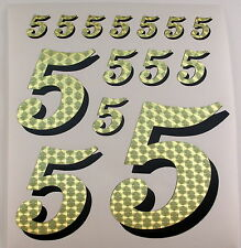 Racing Numbers Number 5 Decal Sticker Pack Gold Black for 1/8 1/10 RC models S01