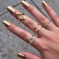 5Pcs/set Punk Gold Silver Crystal Stack Above Knuckle Ring Band Mid Midi Rings