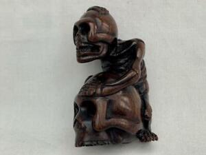 Superb Meiji Period Signed Japanese Wooden Netsuke of a Skeleton & Skull.