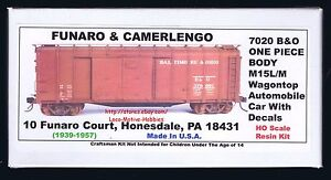 LMH Funaro 7020  BALTIMORE & OHIO  B&O M15L/M Wagon Top BOXCAR Kit  1-PIECE BODY